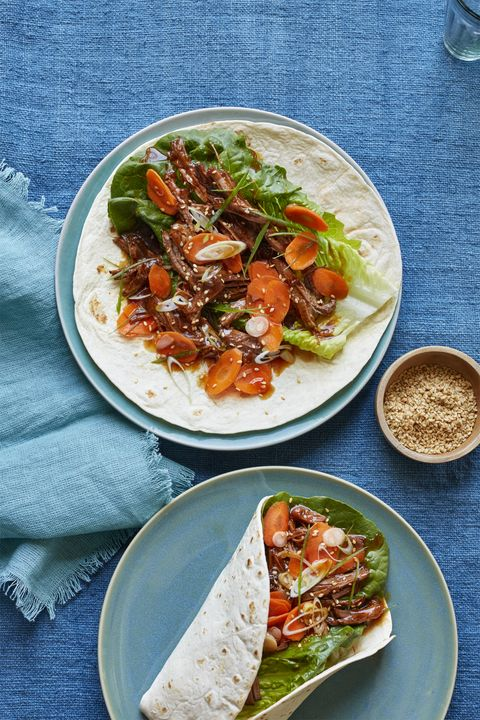 Korean Beef and Scallions with Quick Pickled Carrots Recipe