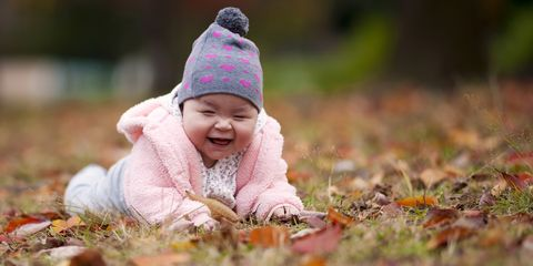 Lip, Cheek, Happy, People in nature, Facial expression, Winter, Baby & toddler clothing, Child, Bonnet, Toddler,