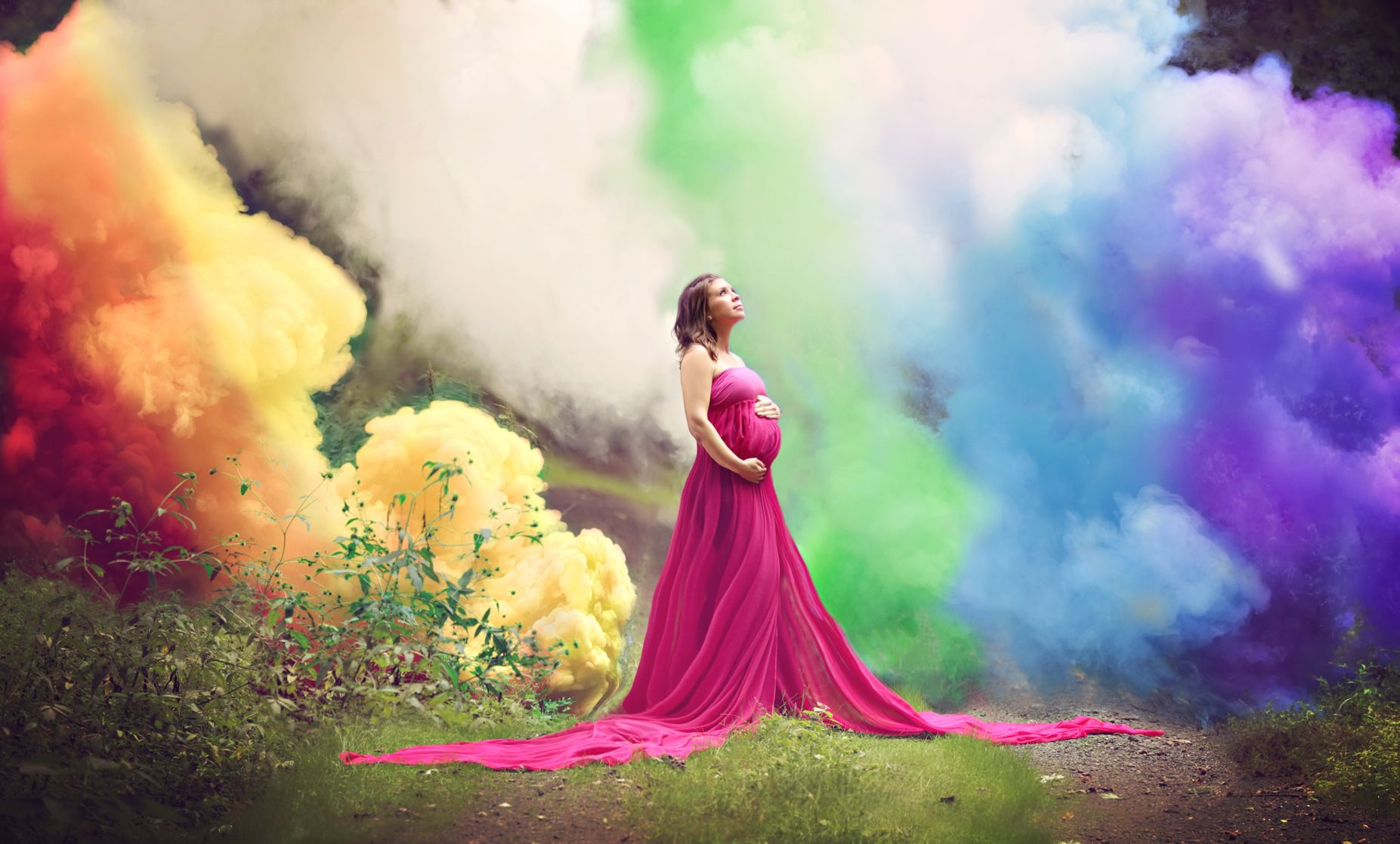 Rainbow baby maternity photography having a baby after infant loss
