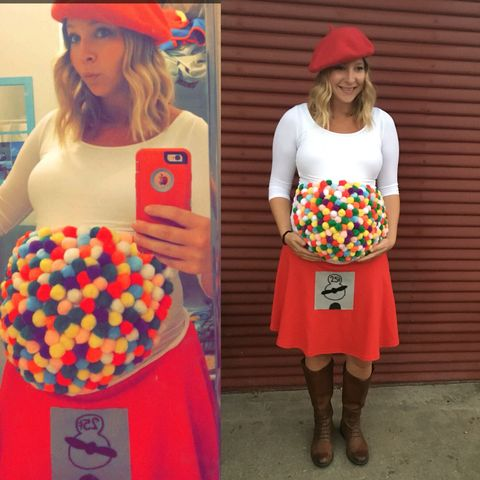 """<p>Sure, you've seen gumball Halloween costumes before (you'll never be able to erase the """"slutty gumball machine"""" from 2014 from your brain), but you haven't seen them done right until you've seen a pregnant lady rock one. <em>It's 3-D.</em> Just be careful where you put the coin slot. </p><p><strong>See more on <a href=""""https://www.pinterest.com/pin/322711129528202903/]"""" target=""""_blank"""">Pinterest</a>.</strong></p>"""