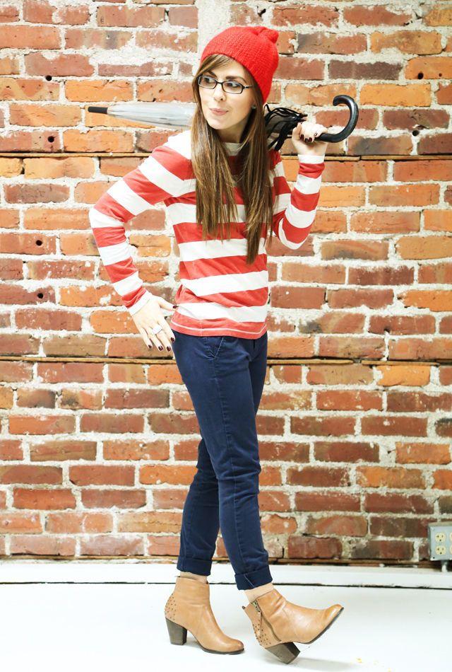 Where's WALDO Wenda Stripe Dress Hat Glasses Sexy Costume ...  |Waldo 90s Halloween Costumes For Women