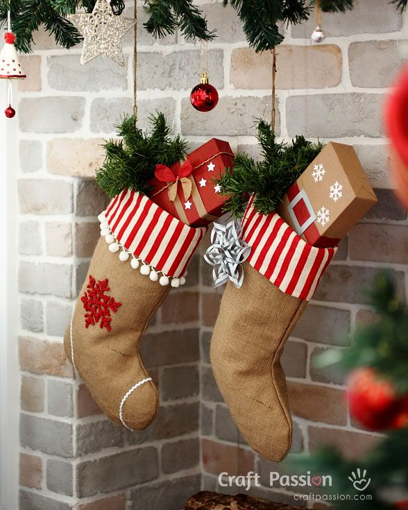 20 diy christmas stockings how to make christmas stockings craft ideas womans day - Decorating Christmas Stockings