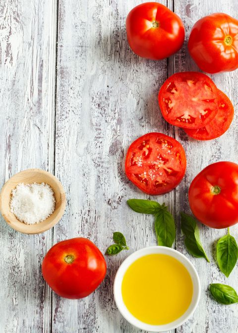 "<p>Eating these veggies may ward off UV-induced damage like wrinkles, thanks to lycopene, the pigment that gives them their rich red color. And cooked tomatoes are good for your skin, too. In fact, <a href=""http://onlinelibrary.wiley.com/doi/10.1111/j.1365-2133.2010.10057.x/full"" target=""_blank"" data-tracking-id=""recirc-text-link"">studies show</a> that our bodies absorb lycopene more easily from tomato paste than from fresh tomatoes.<br></p>"