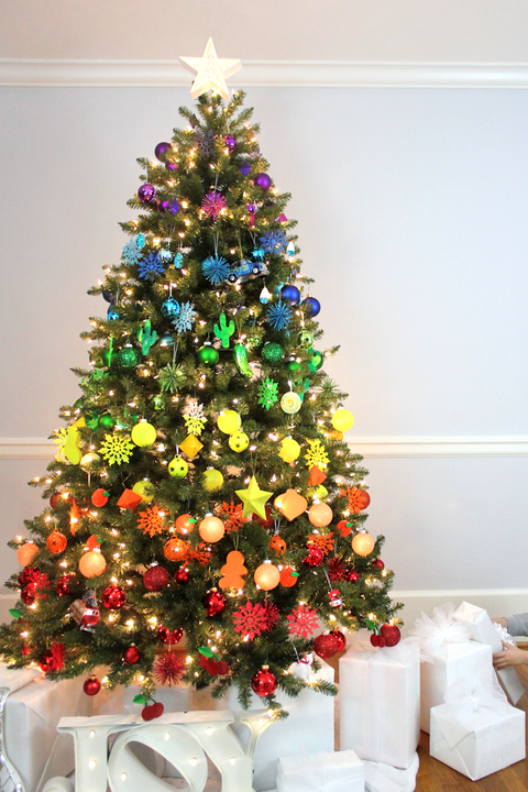 decorated christmas trees rainbow christmas tree