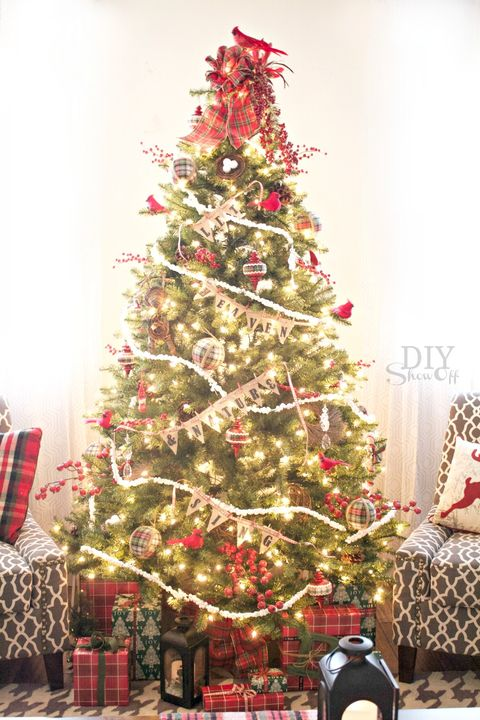 decorated christmas trees birds and berries tree - Small Fully Decorated Christmas Trees