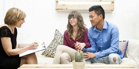 Arm, Flowerpot, Happy, Sitting, Comfort, Living room, Interior design, Conversation, Houseplant, Coffee table,