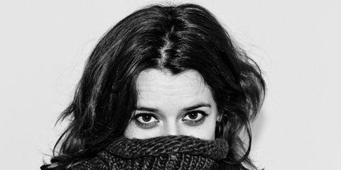 Hairstyle, Eyebrow, Style, Eyelash, Iris, Black hair, Monochrome photography, Black-and-white, Photography, Stole,