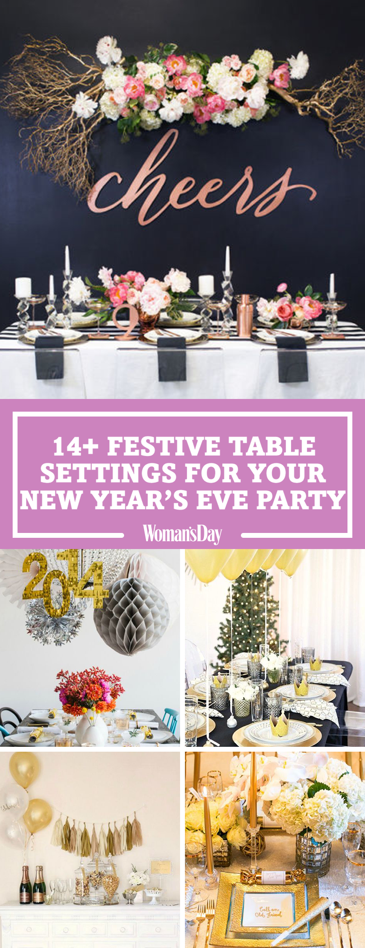 New Years Eve Table Decorations - Festive New Year\'s Dinner Party Decor