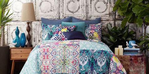 Blue, Room, Interior design, Textile, Wall, Teal, Linens, Turquoise, Aqua, Furniture,