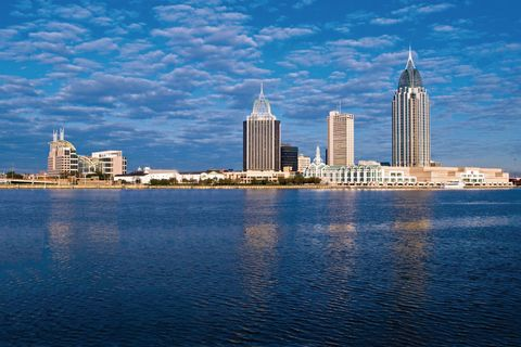 Blue, Daytime, Tower block, Cloud, Metropolitan area, City, Water resources, Urban area, Cityscape, Commercial building,