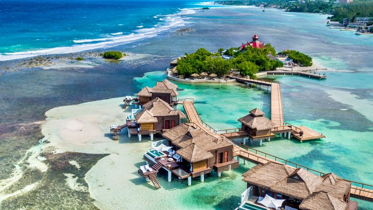 The Caribbean S First Overwater Hotel Sandals Resorts