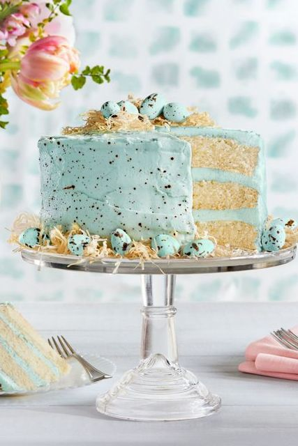 speckled malted coconut cake - easter cakes