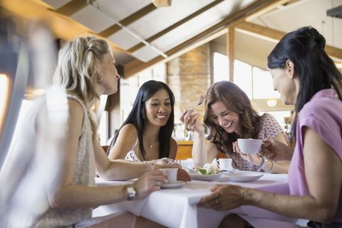 Hair, Mouth, Happy, Sitting, Table, Sharing, Comfort, Friendship, Youth, Dishware,