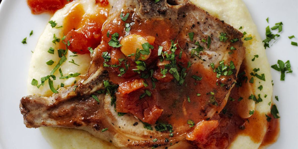 Pork Chops and Garlicky Tomatoes with Parmesan Polenta