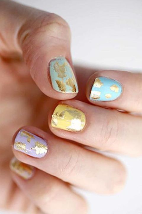 easter nail design - gold speckled nails