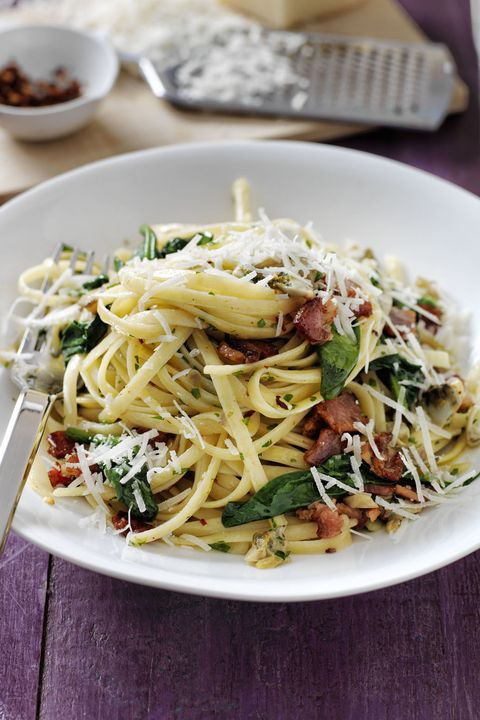 pasta recipes linguine with spinach bacon and clam sauce