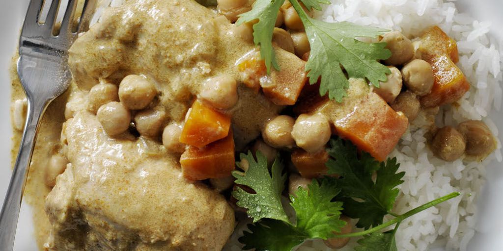 best coconut curry chicken and chickpeas recipe