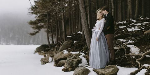 Winter, Dress, Snow, Freezing, Geological phenomenon, Mist, Ice cap, Gown, Glacial landform, Evergreen,