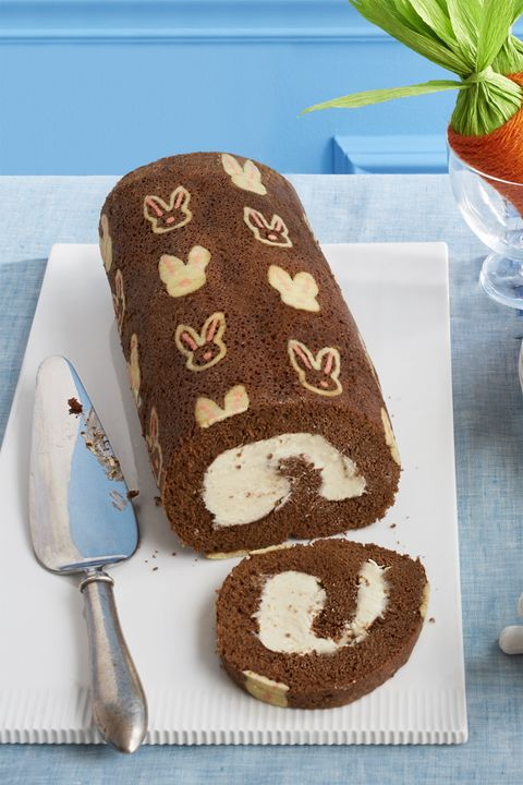 bunny chocolate swiss roll- easter cakes