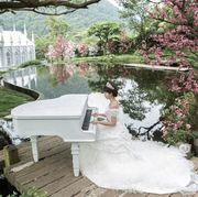 Branch, Petal, Dress, Waterway, Pink, Bridal clothing, Beauty, Bank, Wedding dress, Bride,