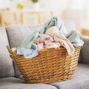 Basket, Wicker, Home accessories, Storage basket, Peach, Pillow, Throw pillow,
