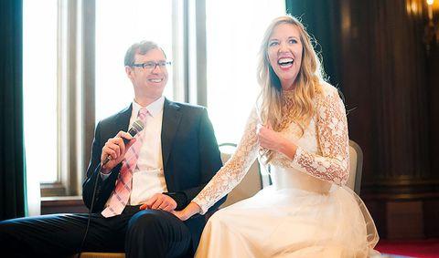 Photograph, Facial expression, Red, Yellow, Wedding dress, Dress, Event, Ceremony, Bride, Wedding,