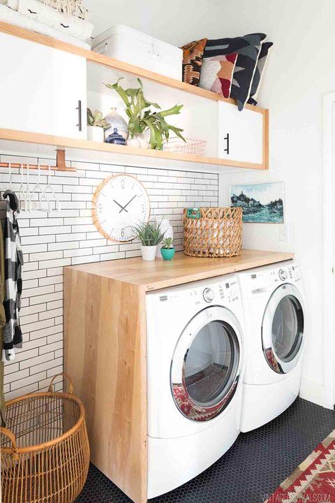 Laundry Room Organization - hang your ironing board - add a countertop