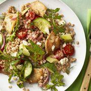 easy chicken dinner recipes -greek chicken avocado farro salad