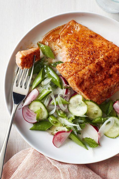 gluten free dinner - Roasted Blackened Salmon with Snap Pea Salad #dinner #recipe #glutenfree #gf #whole30 #healthydinner #dairyfree