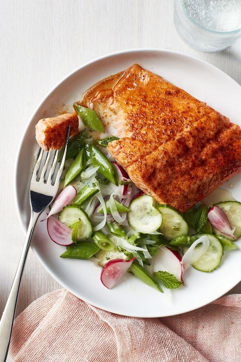 gluten free dinner - Roasted Blackened Salmon with Snap Pea Salad