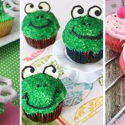 Cupcake, Food, Sweetness, Green, Dessert, Baked goods, Cake, Ingredient, Pink, Baking cup,