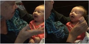 grandma teaches deaf baby sign language