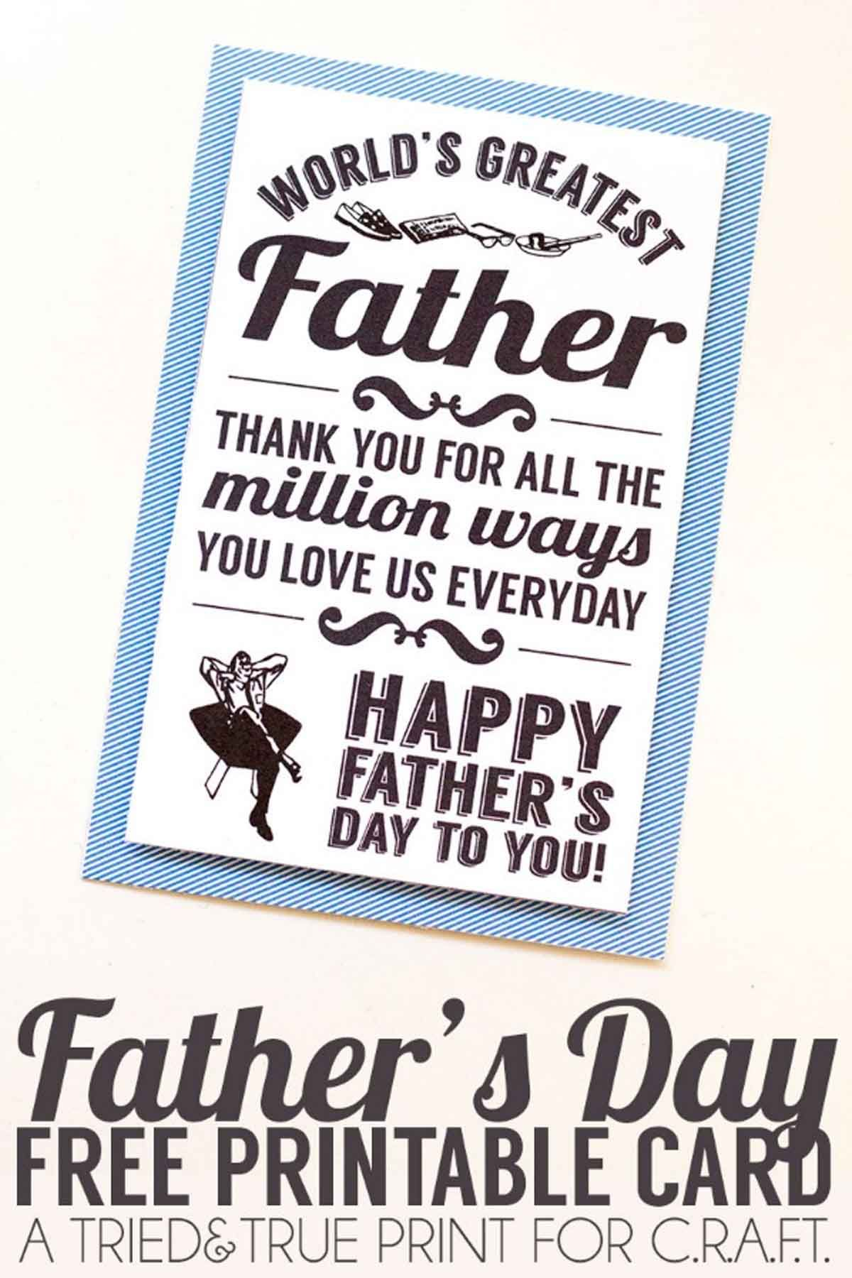 picture regarding Printable Fathers Day Cards Free known as 25 Printable Fathers Working day Playing cards - Free of charge Printable Playing cards For