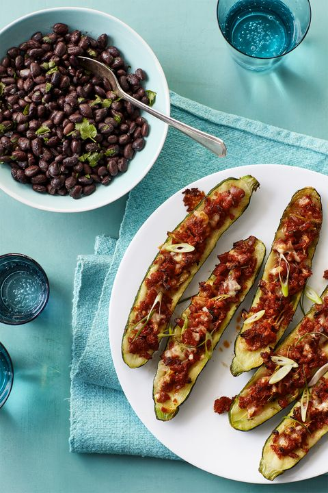 Light Dinner IdeasTex Mex Stuffed Zucchini with Black Beans