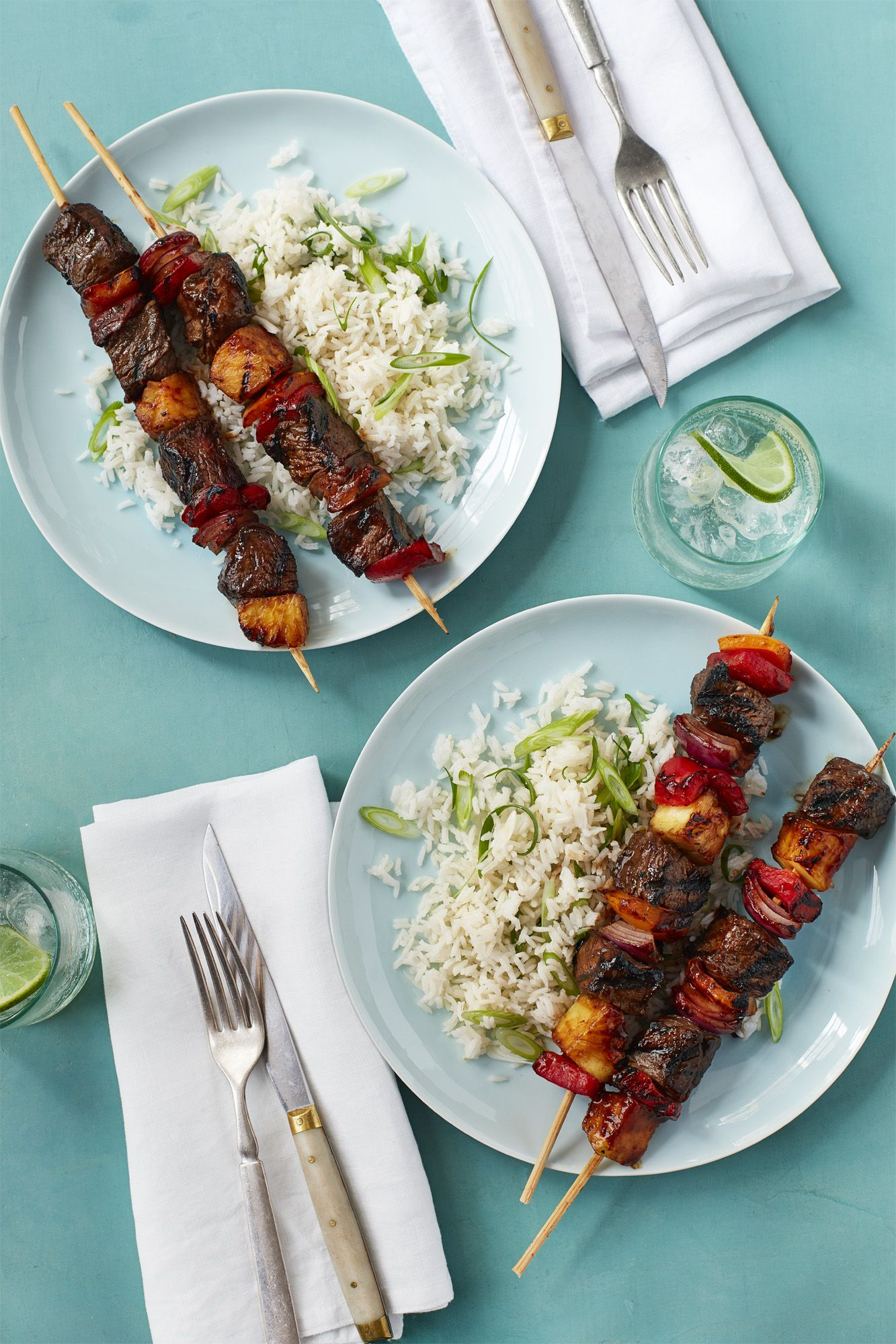 Pork, Nectarine Scallion Kebabs
