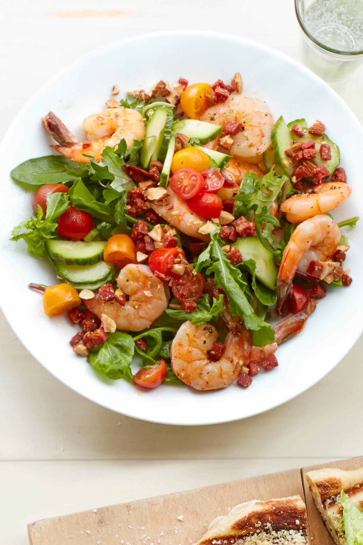 Shrimp Salad with Crispy Chorizo and Almonds