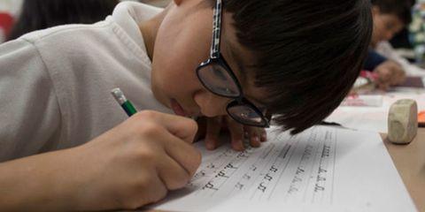 Writing instrument accessory, Writing, Glasses, Hand, Finger, Homework, Eyewear, Ear, Learning,