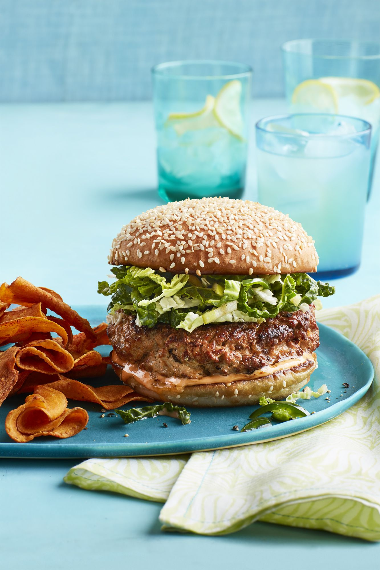 Heart Healthy Recipes - Turkey Burgers and Slaw with Sweet Potato Chips