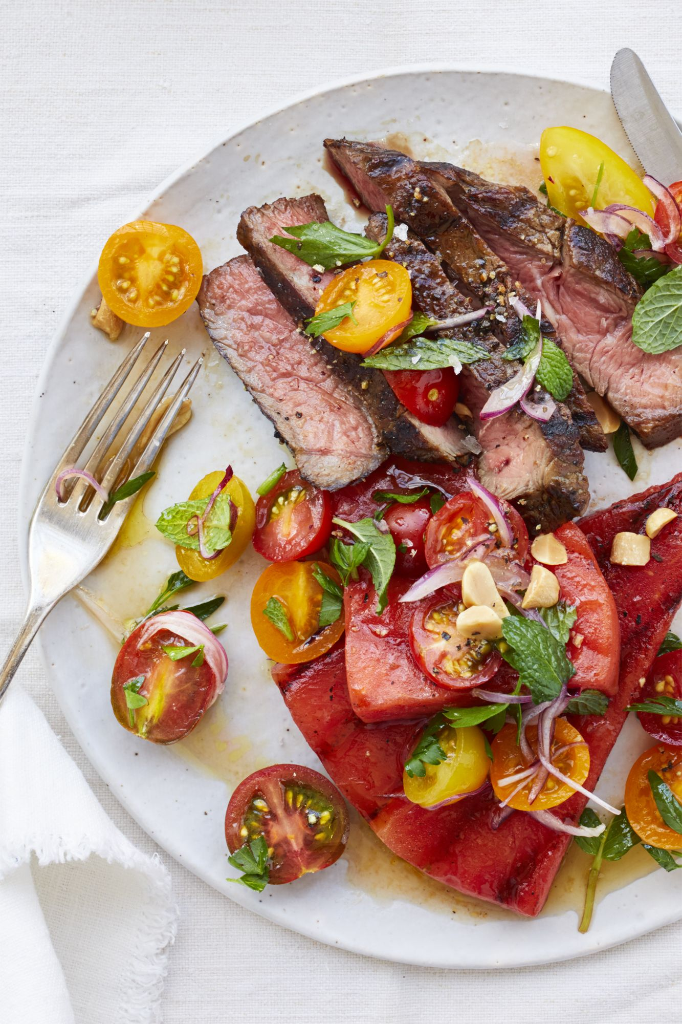 Grilled Watermelon Salad with Steak and Tomatoes