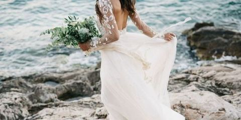 Wedding dress, Dress, Photograph, White, Shoulder, Clothing, Gown, Bridal clothing, Bride, Joint,