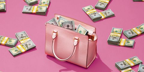 Bag, Pink, Fashion accessory, Handbag, Money, Coin purse, Wallet, Currency, Material property, Cash,