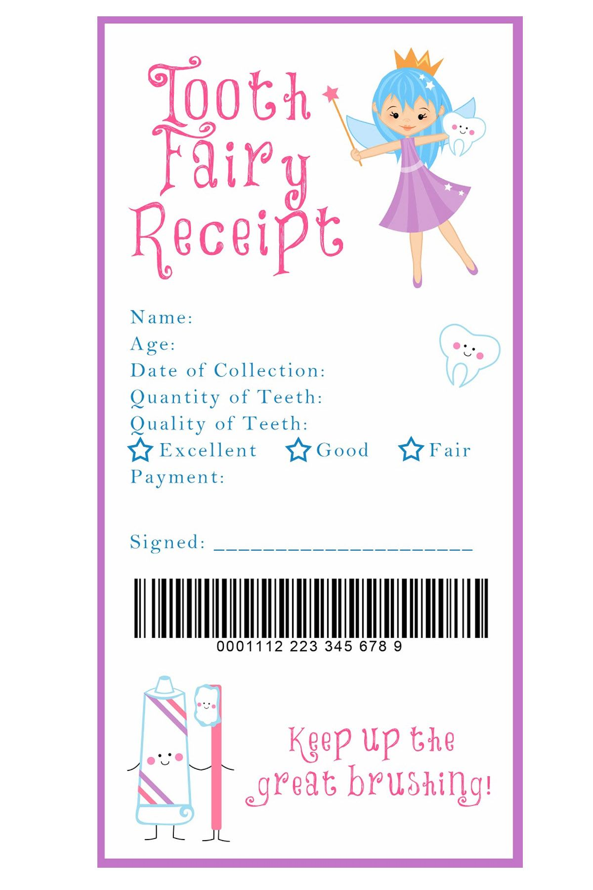 picture regarding Free Printable Tooth Fairy Receipt named 15 Strategies towards Include a Pleasurable Spin toward the Story of the Teeth Fairy
