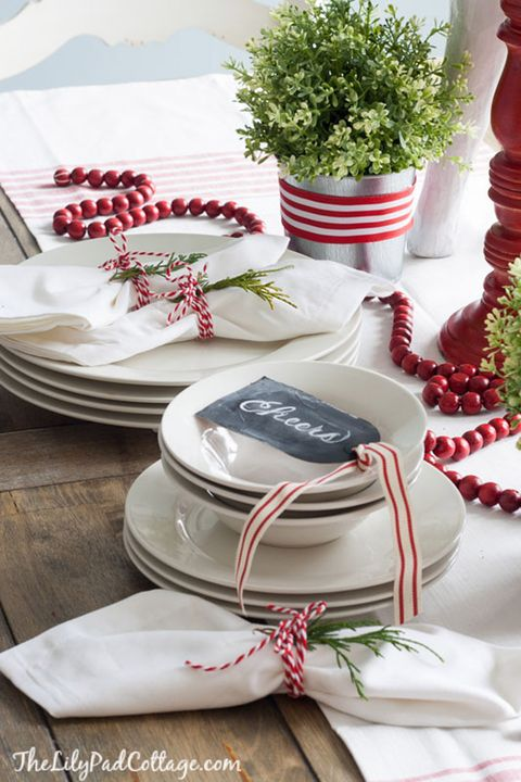 christmas table decorations red and white stripes - Silver Christmas Table Decorations