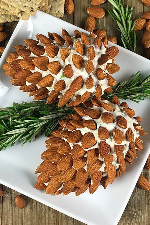 Christmas Etizers Pine Cone Cheese Ball With Almonds
