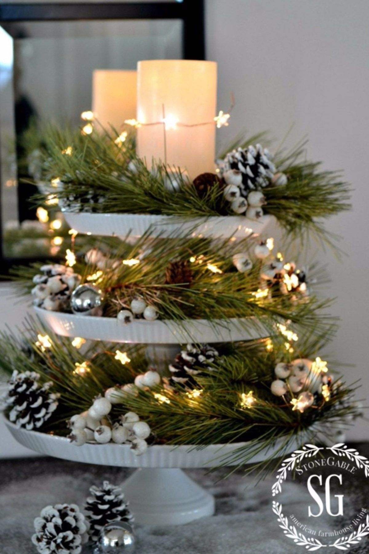 How To Decorate Christmas Table Centerpieces  Cake Stand Christmas Centerpiece