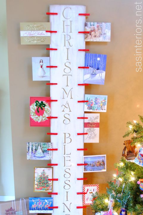 Christmas Card Holder Wooden Display