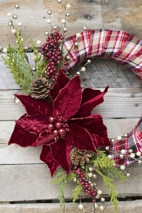 christmas wreaths plaid and poinsettia wreath