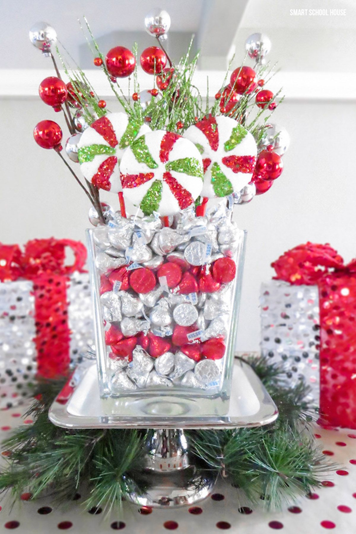 Floral Table Decorations For Christmas  Hershey Kisses Centerpiece