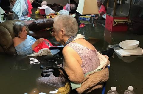 Hurricane Harvey floods a nursing home in Texas.
