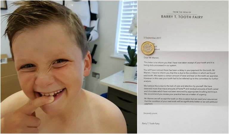 Dads viral tooth fairy note to son shows expert parenting skills every parent knows that making sure your children brush their teeth and actually do it well is a constant struggle but father of three henry warren has solutioingenieria Choice Image